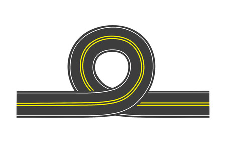 Vector illustration of isolated road with loop and double solid line Vector