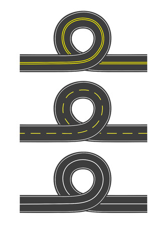 Set of vector illustrations of isolated roads with loop  Vector