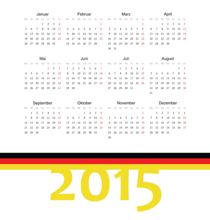 Simple square german 2015 year vector calendar  Week starts from Monday  Vector