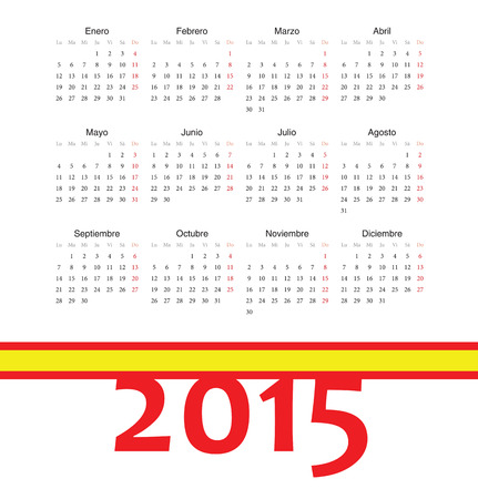 Simple square spainish 2015 year vector calendar  Week starts from Monday  Vector