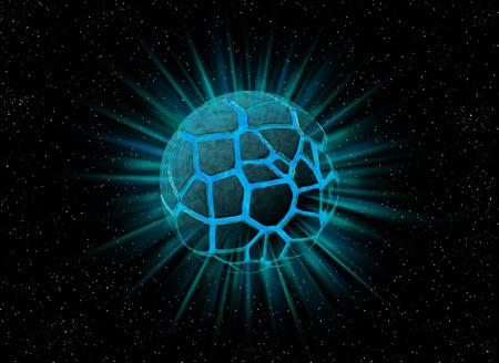 splinters: Explosion of mystery blue planet with splinters