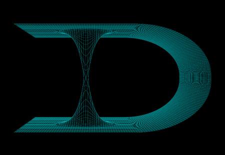 flexure: Illustration of meshy wormhole model Stock Photo