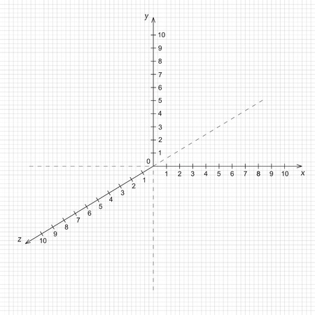 Vector illustration of mathematics triaxial system of coordinate on the grid Illustration