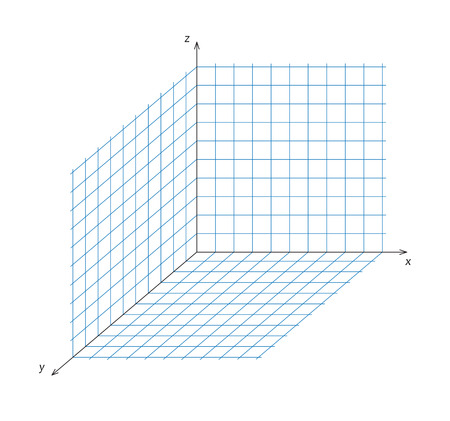 tridimensional: Vector illustration of mathematics triaxial system of coordinate Illustration