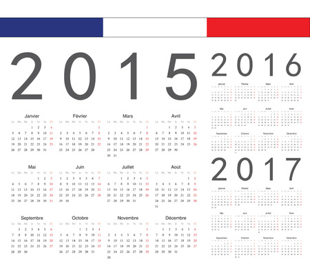Set of french 2015, 2016, 2017 year vector calendars. Week starts from Monday. Vector