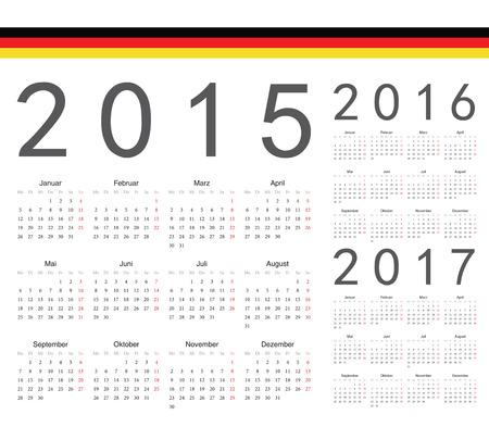 Set of German 2015, 2016, 2017 year vector calendars. Week starts from Monday. Vector