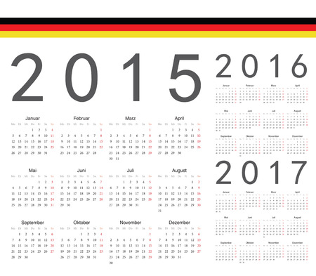 Set of German 2015, 2016, 2017 year vector calendars. Week starts from Monday. Vector