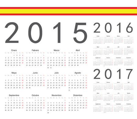 Set of spanish 2015, 2016, 2017 year vector calendars. Week starts from Monday. Vector