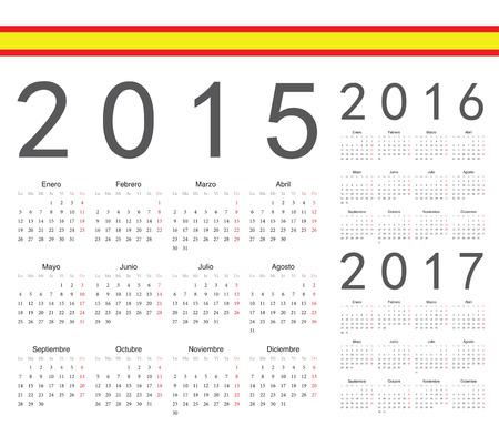 Set of spanish 2015, 2016, 2017 year vector calendars. Week starts from Monday. Illustration
