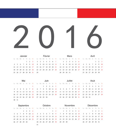 Simple french 2017 year vector calendar. Week starts from Monday. Vector