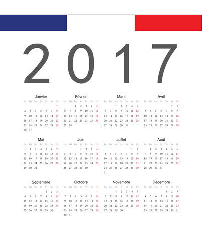 calendrier: Simple french 2017 year vector calendar. Week starts from Monday.