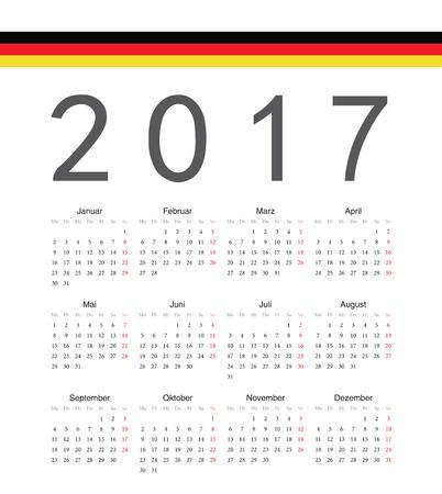 Simple german 2017 year vector calendar. Week starts from Monday. Vector