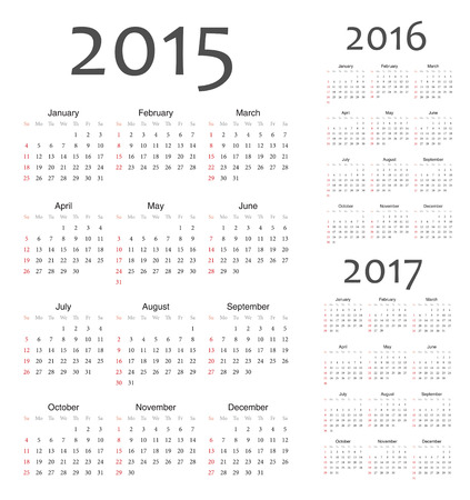 Simple european 2015, 2016, 2017 year calendars. Week starts from Sunday. Vector