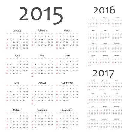 Simple european 2015, 2016, 2017 year calendars. Week starts from Sunday. Vector