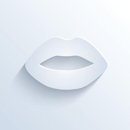 sloping: Vector illustration of lips icon with shadow