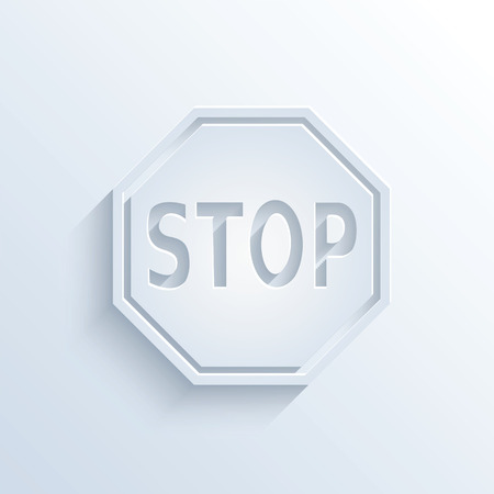 sloping: Vector illustration of stop sign with shadow Illustration