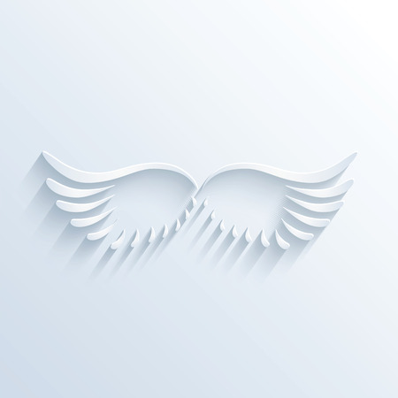 bird wings: Vector illustration of wings sign with shadow