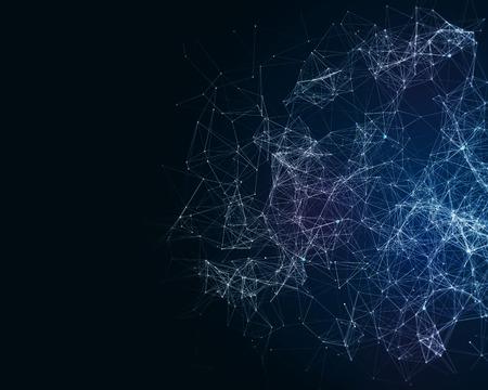 진화 된 인공 두뇌 입자와 추상적 인 디지털 배경 스톡 콘텐츠