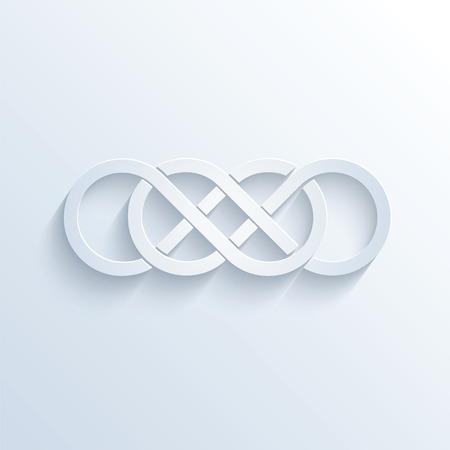 sloping: illustration of double infinity sign with shadow Illustration
