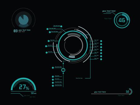 ヘッドアップ ・ ディスプレイとして未来の緑インフォ グラフィック