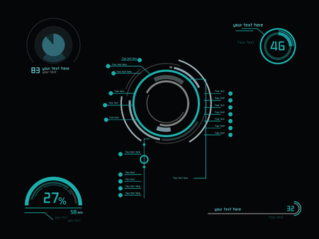 Futuristic green infographics as head-up display
