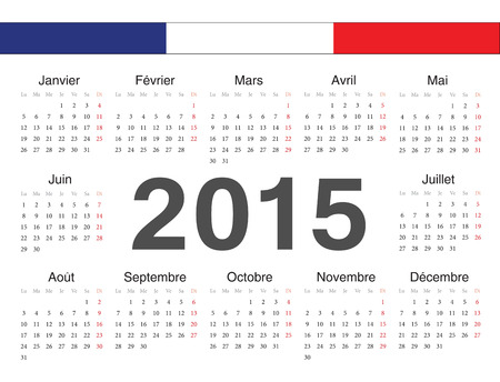 french circle calendar 2015. Week starts from Monday. Vector
