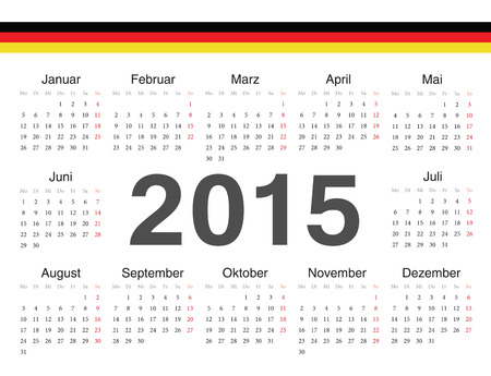 german circle calendar 2015. Week starts from Monday. Vector