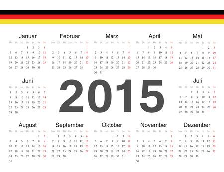 calendrier: german circle calendar 2015. Week starts from Monday. Illustration
