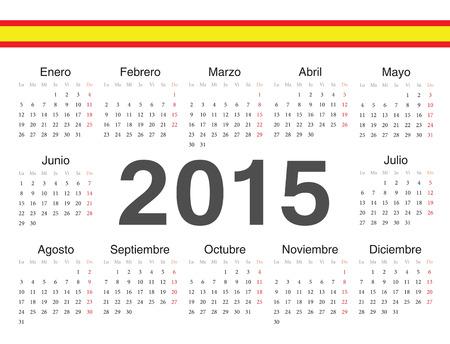 spanish circle calendar 2015. Week starts from Monday. Vector