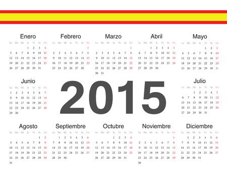 spanish circle calendar 2015. Week starts from Monday. Vector