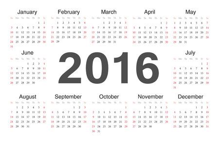 サークル カレンダー 2016 年。週は日曜日から始まります。  イラスト・ベクター素材