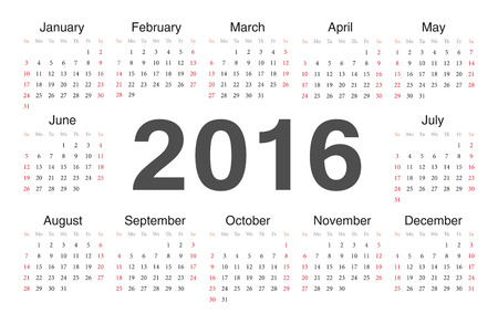 circle calendar 2016. Week starts from Sunday. Vector
