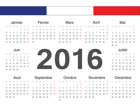 french circle calendar 2016. Week starts from Monday. Vector