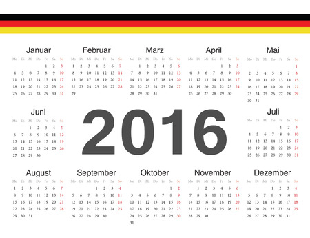calendrier: german circle calendar 2016. Week starts from Monday. Illustration
