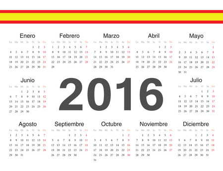 spanish circle calendar 2016. Week starts from Monday. Vector