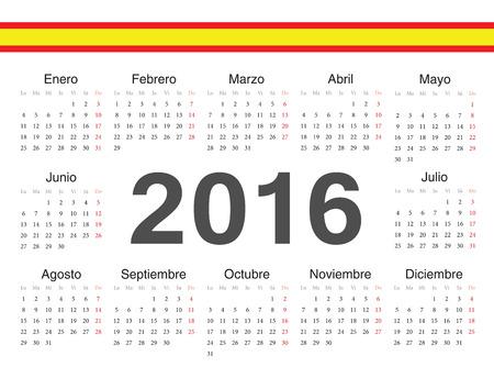 calendrier: spanish circle calendar 2016. Week starts from Monday.