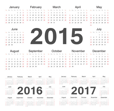サークルのカレンダー 2015 年 2016 年 2017年。週は日曜日から始まります。