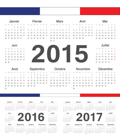 french circle calendars 2015, 2016, 2107. Week starts from Monday. Vector