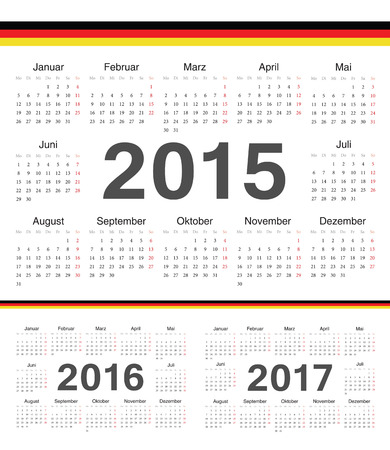 calendrier: german circle calendars 2015, 2016, 2017. Week starts from Monday.