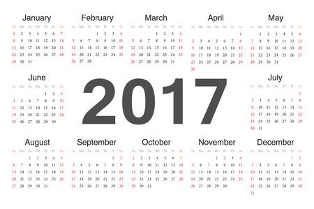circle calendar 2017. Week starts from Sunday.