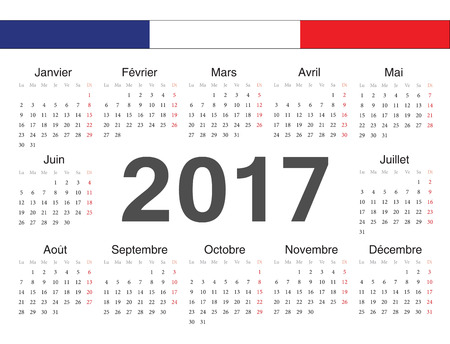 french circle calendar 2017. Week starts from Monday. Vector