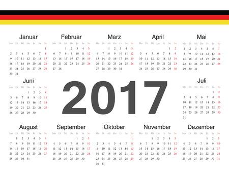 german circle calendar 2017. Week starts from Monday. Vector