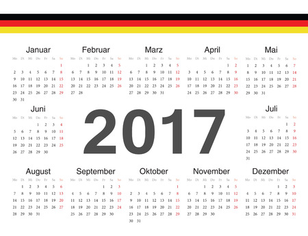 german circle calendar 2017. Week starts from Monday. Vector