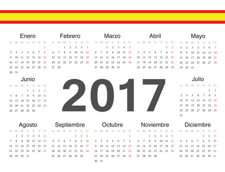calendrier: spanish circle calendar 2017. Week starts from Monday.