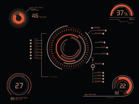ヘッドアップ ・ ディスプレイとして未来のオレンジ インフォ グラフィック  イラスト・ベクター素材