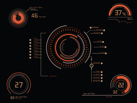 Futuristic orange infographics as head-up display Illusztráció