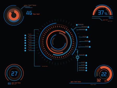 헤드 업 디스플레이와 미래 컬러 인포 그래픽 일러스트