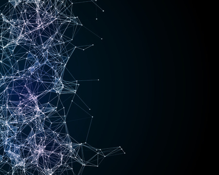 plexus: Abstract digital background with cybernetic particles