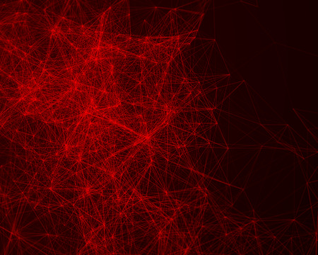 cybernetic: Red abstract digital background with cybernetic particles