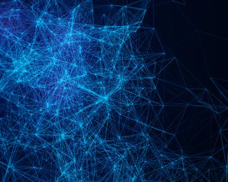 デジタル ブルー抽象的な背景サイバネティック粒子